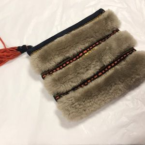 Anthropologie Holding Horses faux fur clutch new